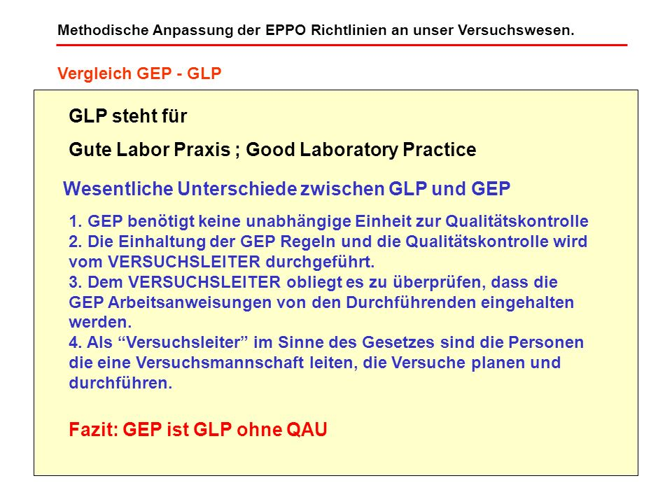 Gute Labor Praxis ; Good Laboratory Practice