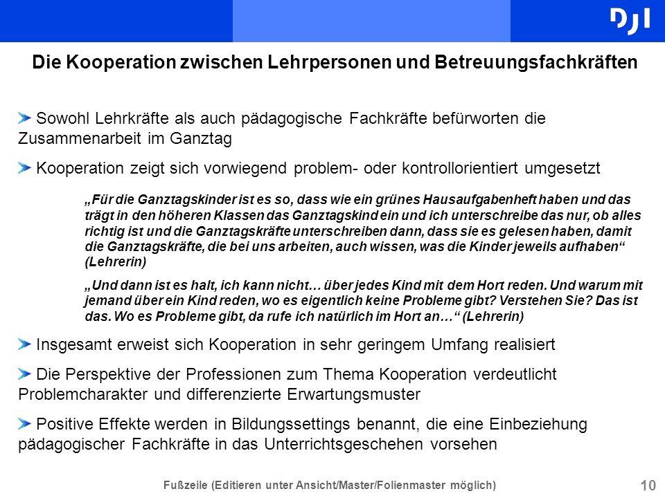 Die Kooperation zwischen Lehrpersonen und Betreuungsfachkräften