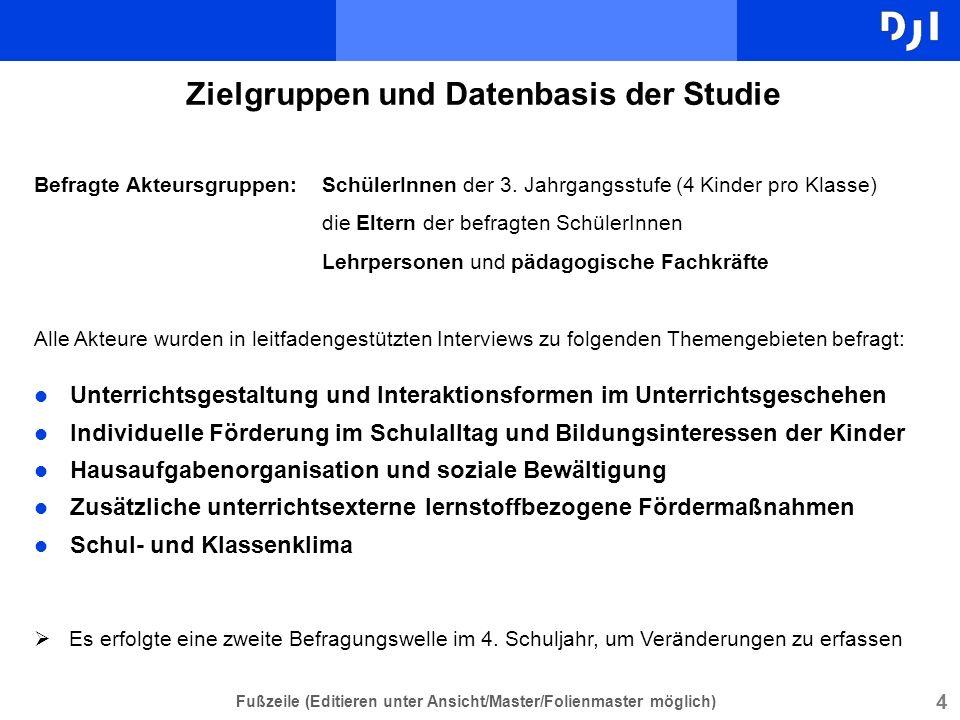 Zielgruppen und Datenbasis der Studie