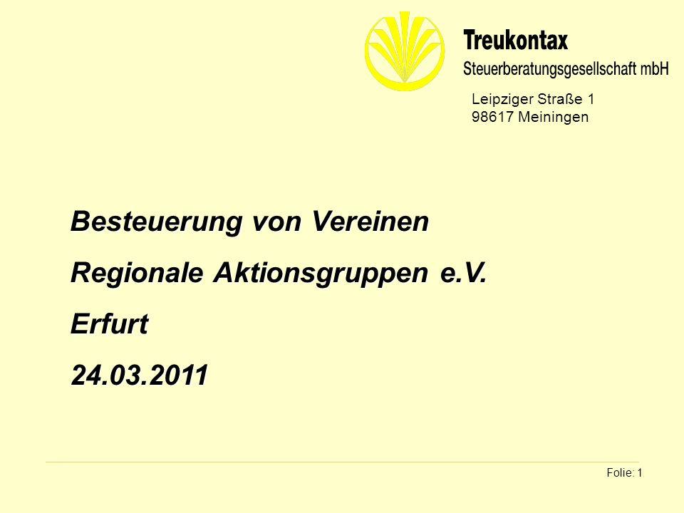 Besteuerung von Vereinen Regionale Aktionsgruppen e.V. Erfurt