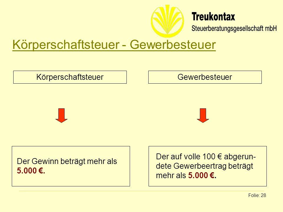 Körperschaftsteuer - Gewerbesteuer