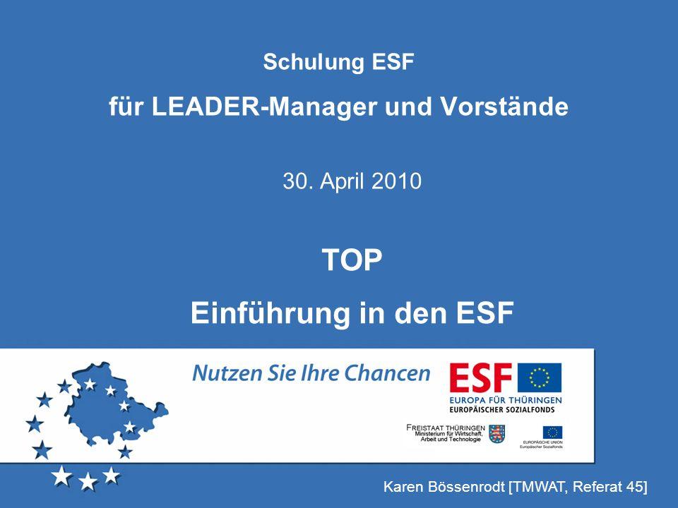 Schulung ESF für LEADER-Manager und Vorstände
