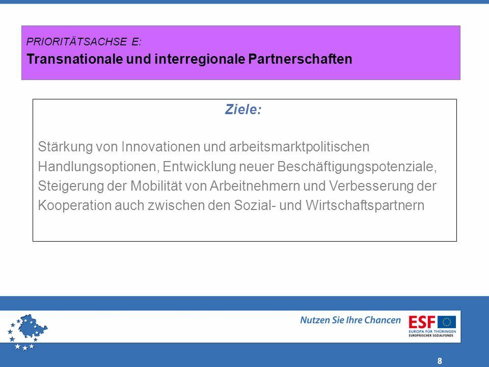 PRIORITÄTSACHSE E: Transnationale und interregionale Partnerschaften