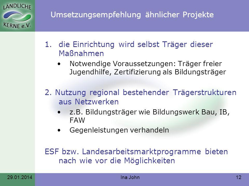 Umsetzungsempfehlung ähnlicher Projekte