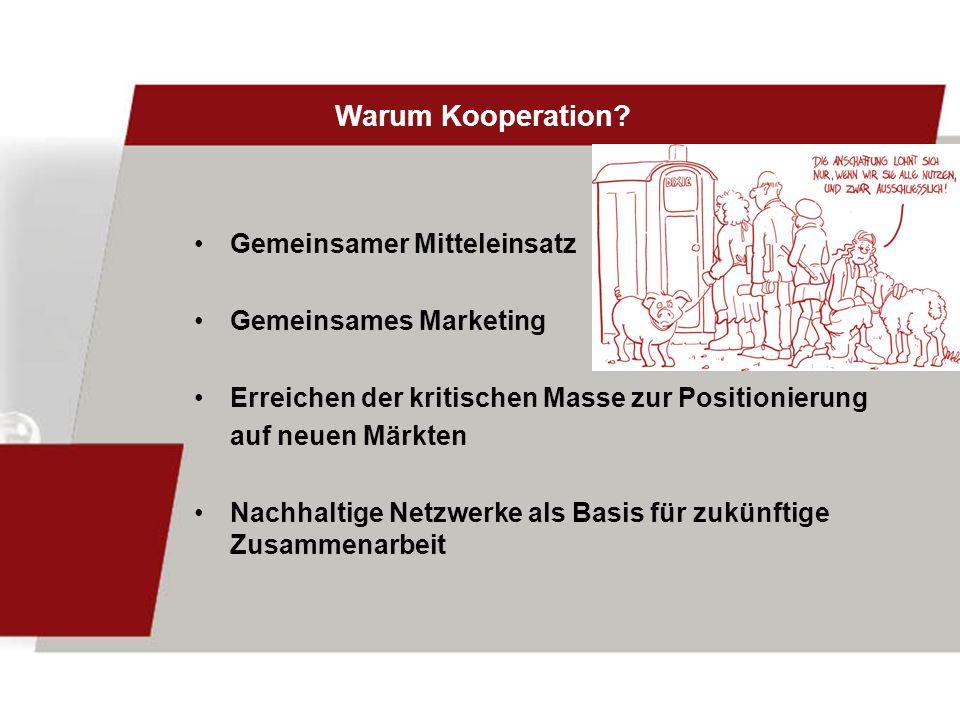 Warum Kooperation Gemeinsamer Mitteleinsatz Gemeinsames Marketing