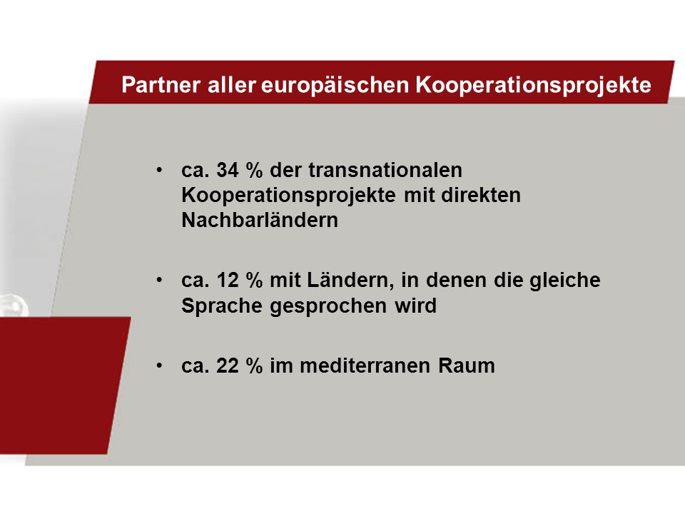 Partner aller europäischen Kooperationsprojekte