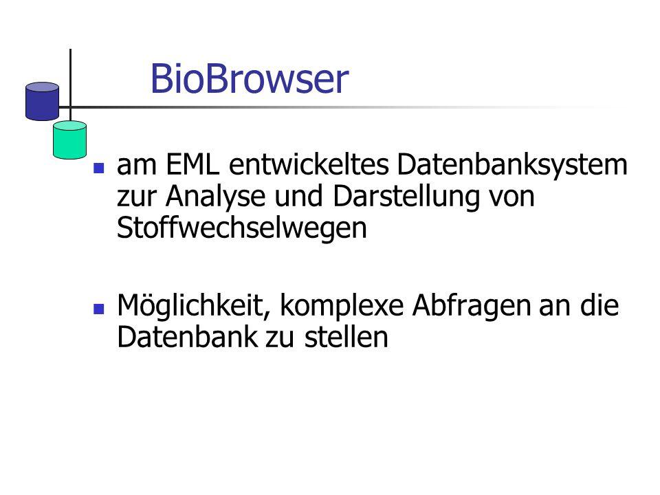 BioBrowser am EML entwickeltes Datenbanksystem zur Analyse und Darstellung von Stoffwechselwegen.