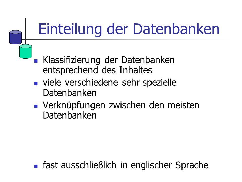 Einteilung der Datenbanken