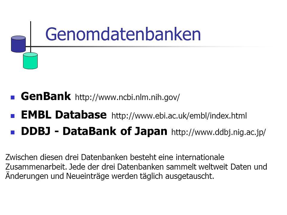 Genomdatenbanken GenBank http://www.ncbi.nlm.nih.gov/