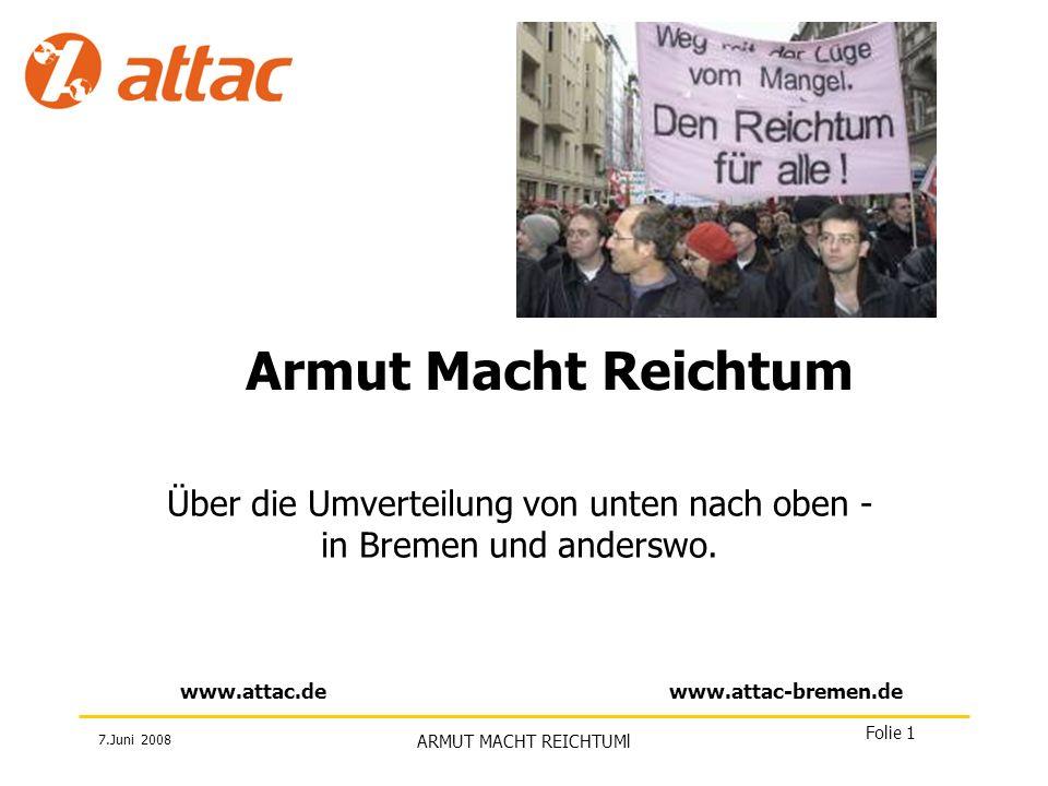 Über die Umverteilung von unten nach oben - in Bremen und anderswo.