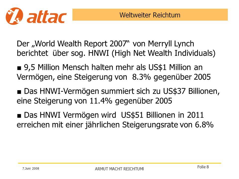 """Weltweiter Reichtum Der """"World Wealth Report 2007 von Merryll Lynch berichtet über sog. HNWI (High Net Wealth Individuals)"""