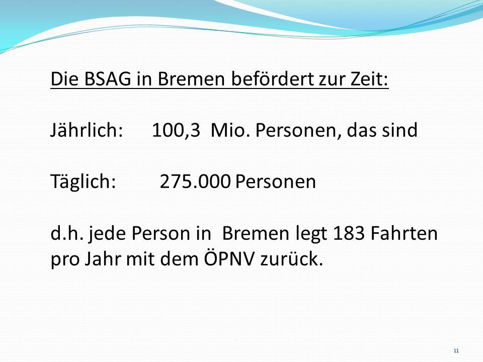 Die BSAG in Bremen befördert zur Zeit: