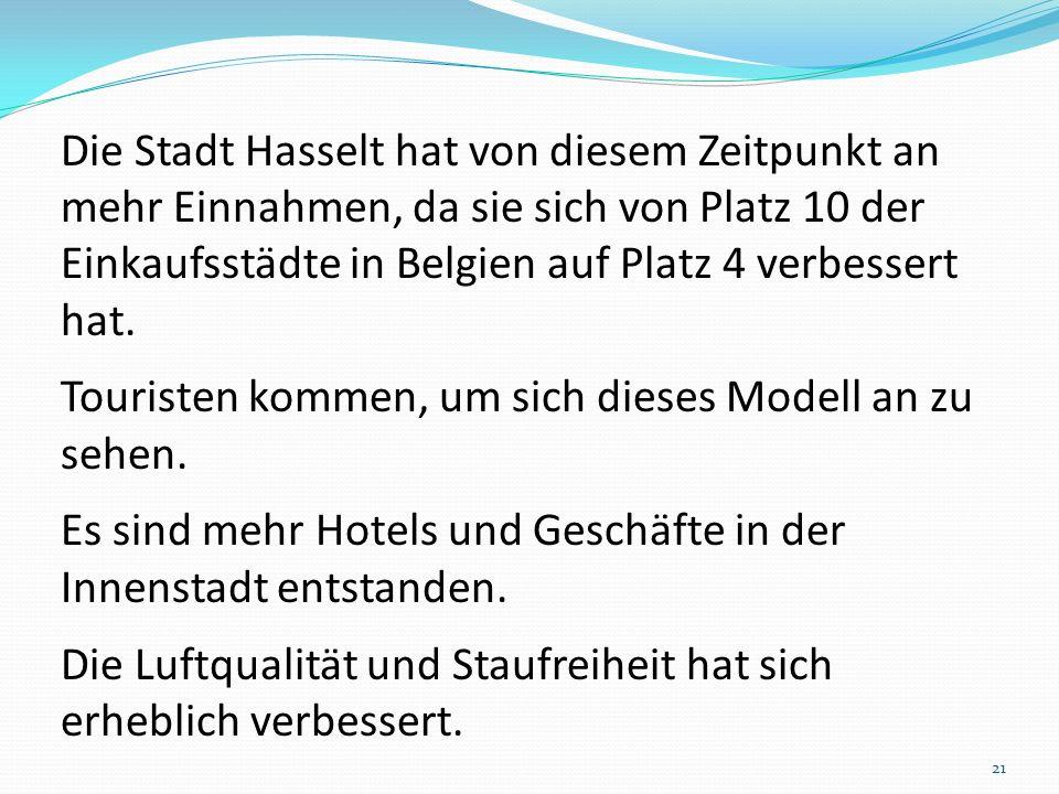 Die Stadt Hasselt hat von diesem Zeitpunkt an mehr Einnahmen, da sie sich von Platz 10 der Einkaufsstädte in Belgien auf Platz 4 verbessert hat.