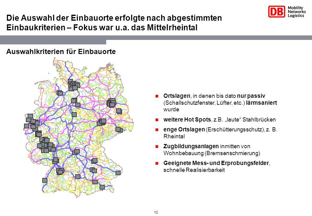 Die Auswahl der Einbauorte erfolgte nach abgestimmten Einbaukriterien – Fokus war u.a. das Mittelrheintal
