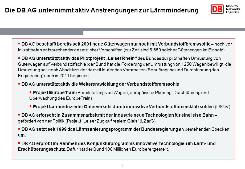 Die DB AG unternimmt aktiv Anstrengungen zur Lärmminderung
