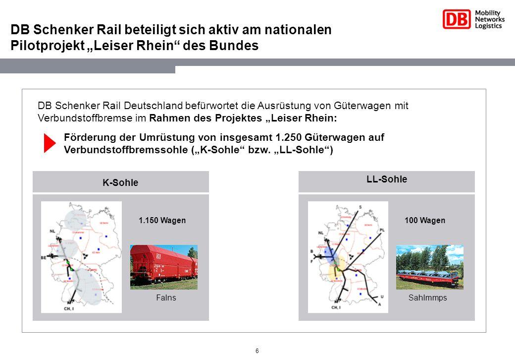 """DB Schenker Rail beteiligt sich aktiv am nationalen Pilotprojekt """"Leiser Rhein des Bundes"""