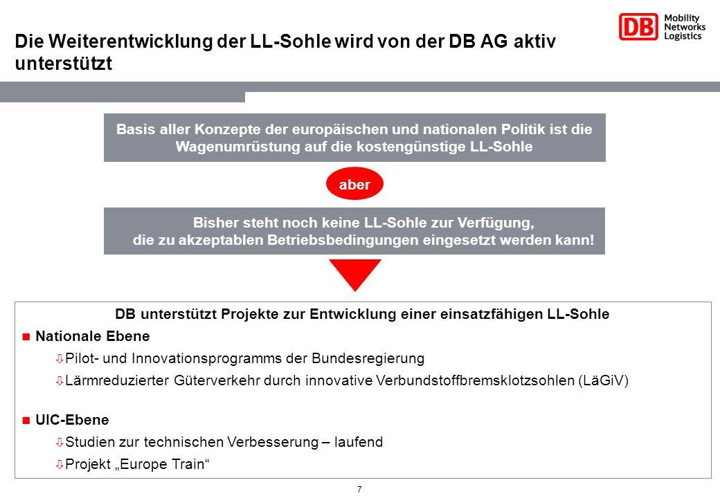 Die Weiterentwicklung der LL-Sohle wird von der DB AG aktiv unterstützt