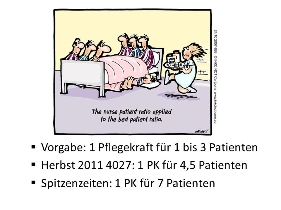 Vorgabe: 1 Pflegekraft für 1 bis 3 Patienten