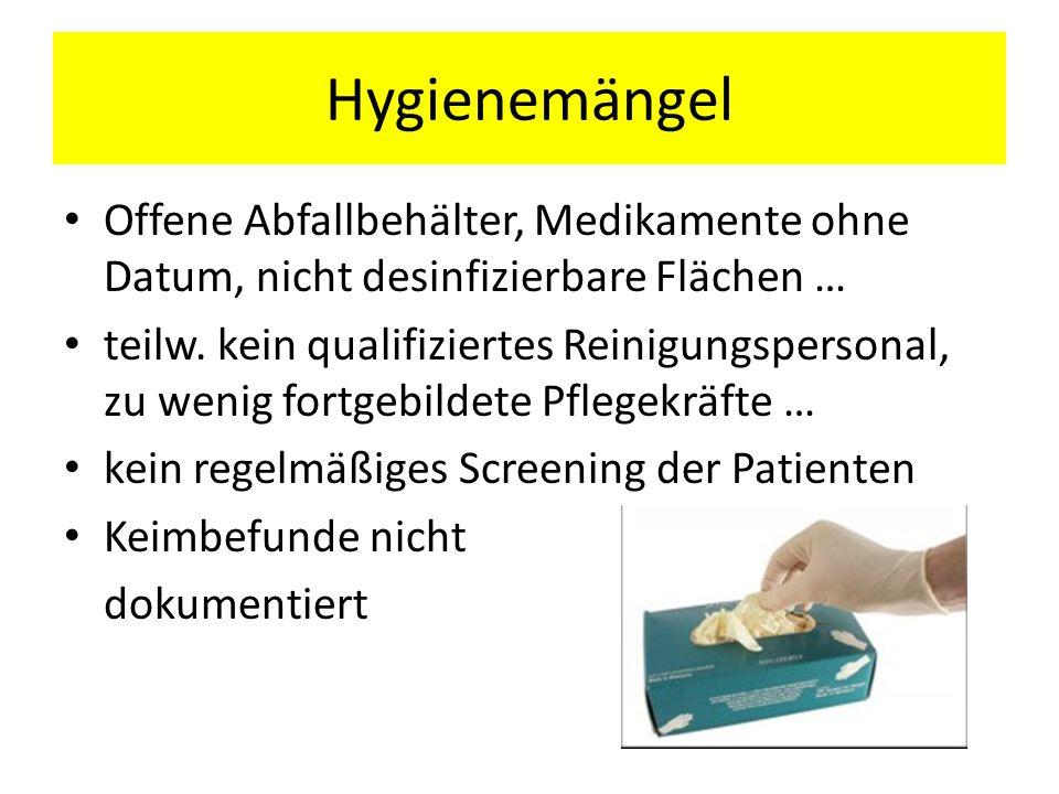 Hygienemängel Offene Abfallbehälter, Medikamente ohne Datum, nicht desinfizierbare Flächen …