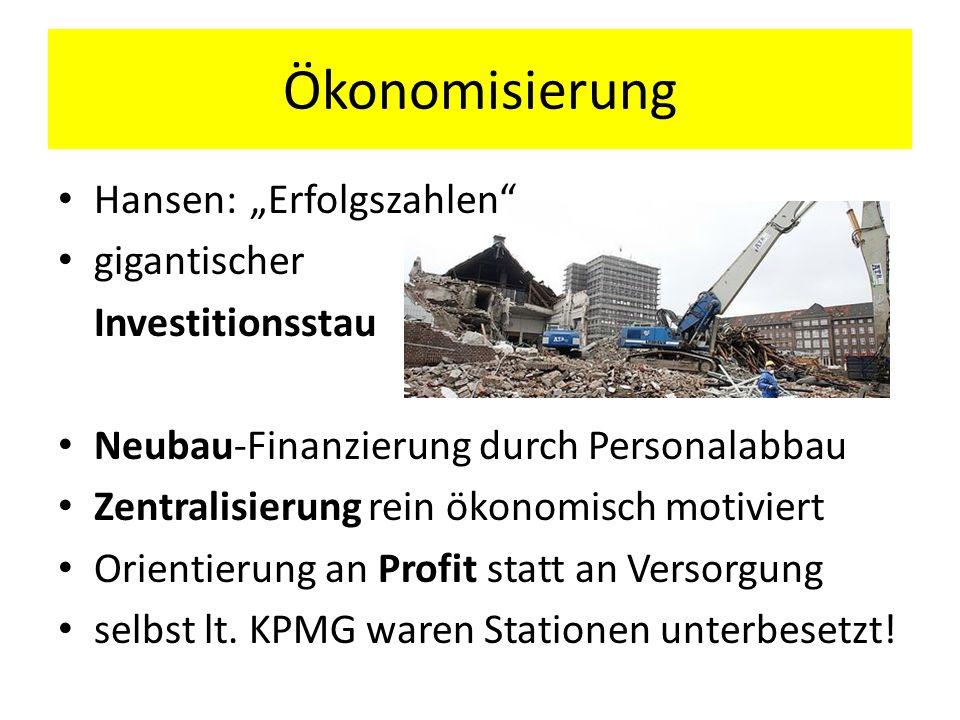 """Ökonomisierung Hansen: """"Erfolgszahlen gigantischer Investitionsstau"""
