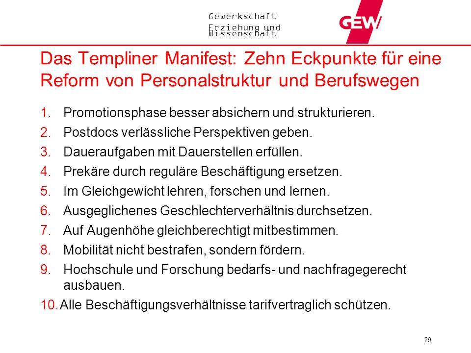 Das Templiner Manifest: Zehn Eckpunkte für eine Reform von Personalstruktur und Berufswegen