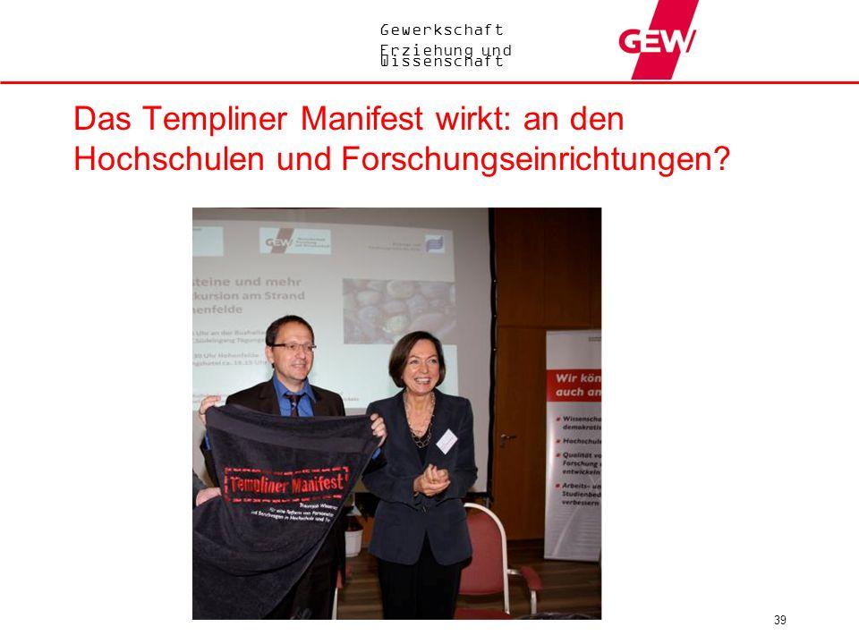 Das Templiner Manifest wirkt: an den Hochschulen und Forschungseinrichtungen