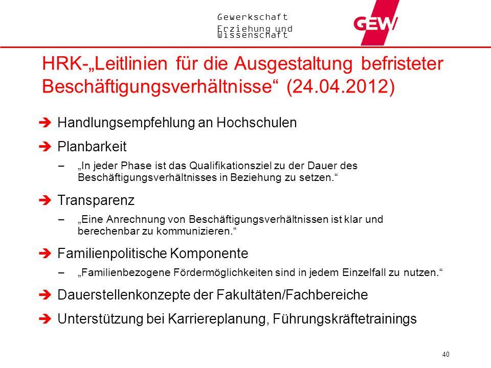 """HRK-""""Leitlinien für die Ausgestaltung befristeter Beschäftigungsverhältnisse (24.04.2012)"""