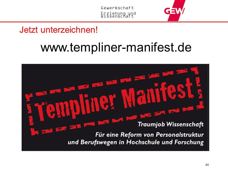 Jetzt unterzeichnen! www.templiner-manifest.de