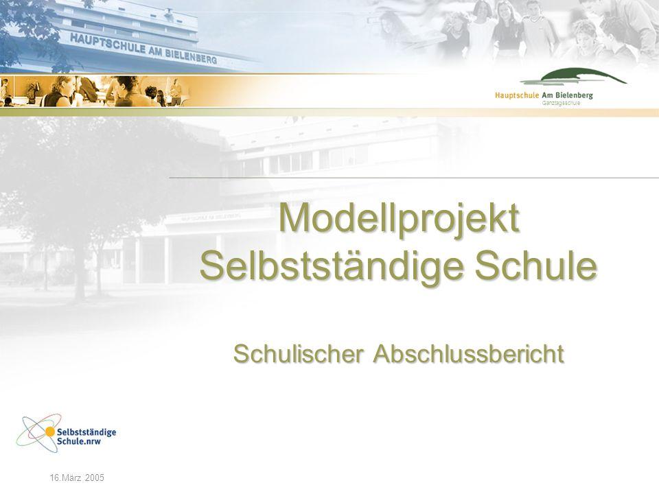 Modellprojekt Selbstständige Schule Schulischer Abschlussbericht