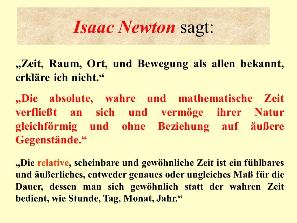 """Isaac Newton sagt:""""Zeit, Raum, Ort, und Bewegung als allen bekannt, erkläre ich nicht."""