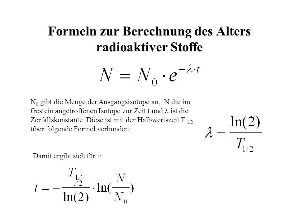 Formeln zur Berechnung des Alters radioaktiver Stoffe