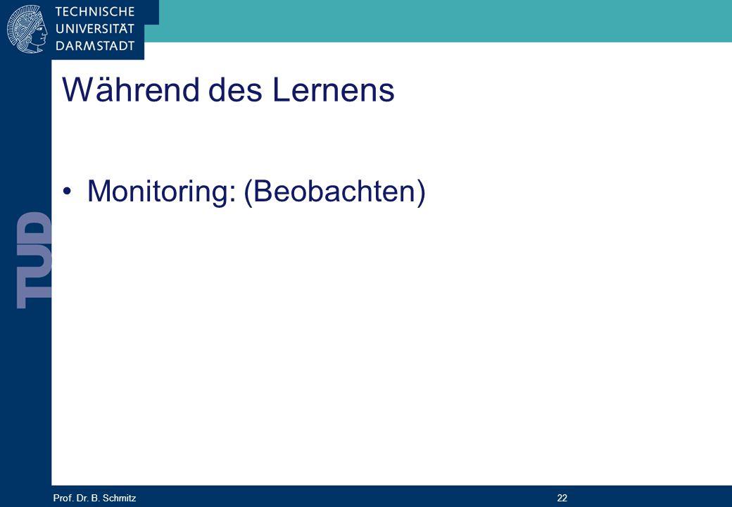 Während des Lernens Monitoring: (Beobachten)