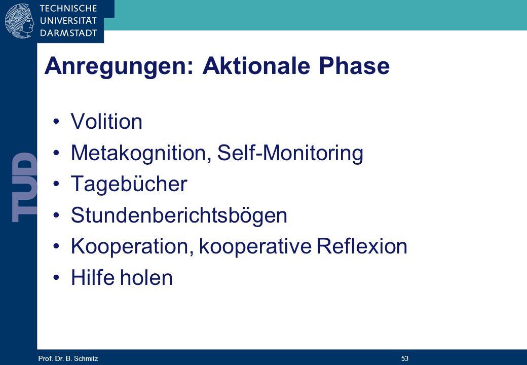 Anregungen: Aktionale Phase