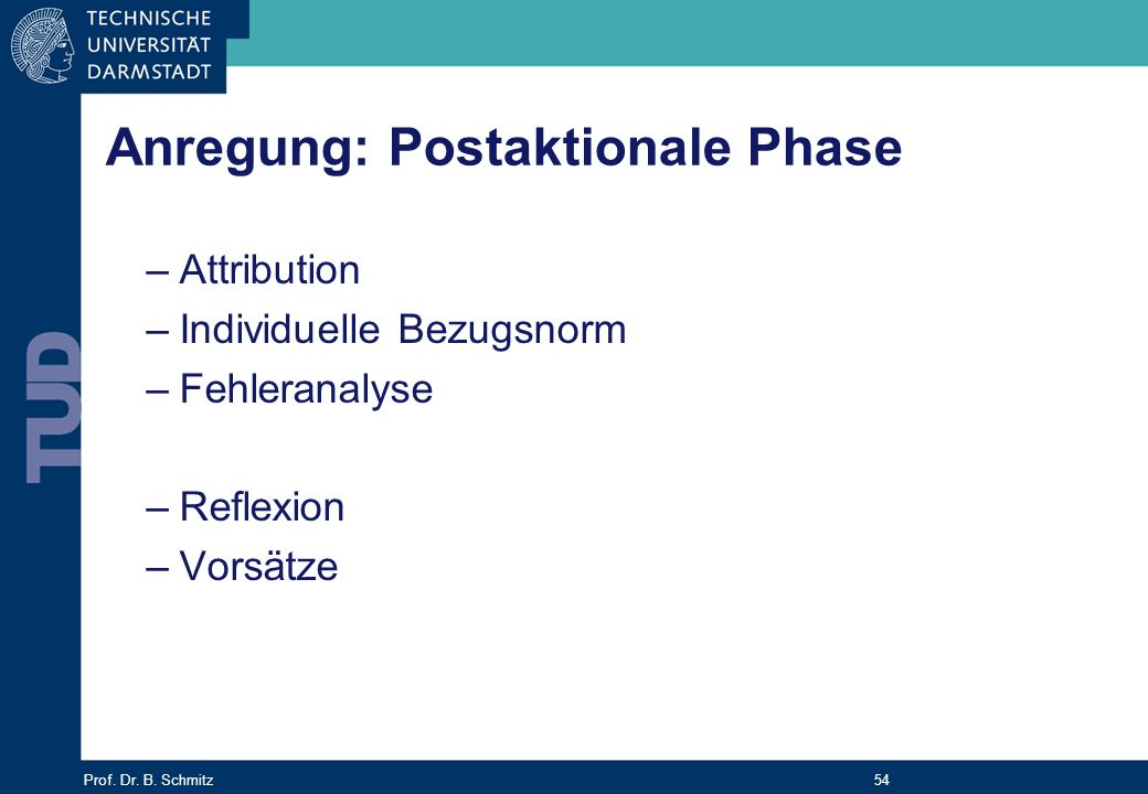 Anregung: Postaktionale Phase
