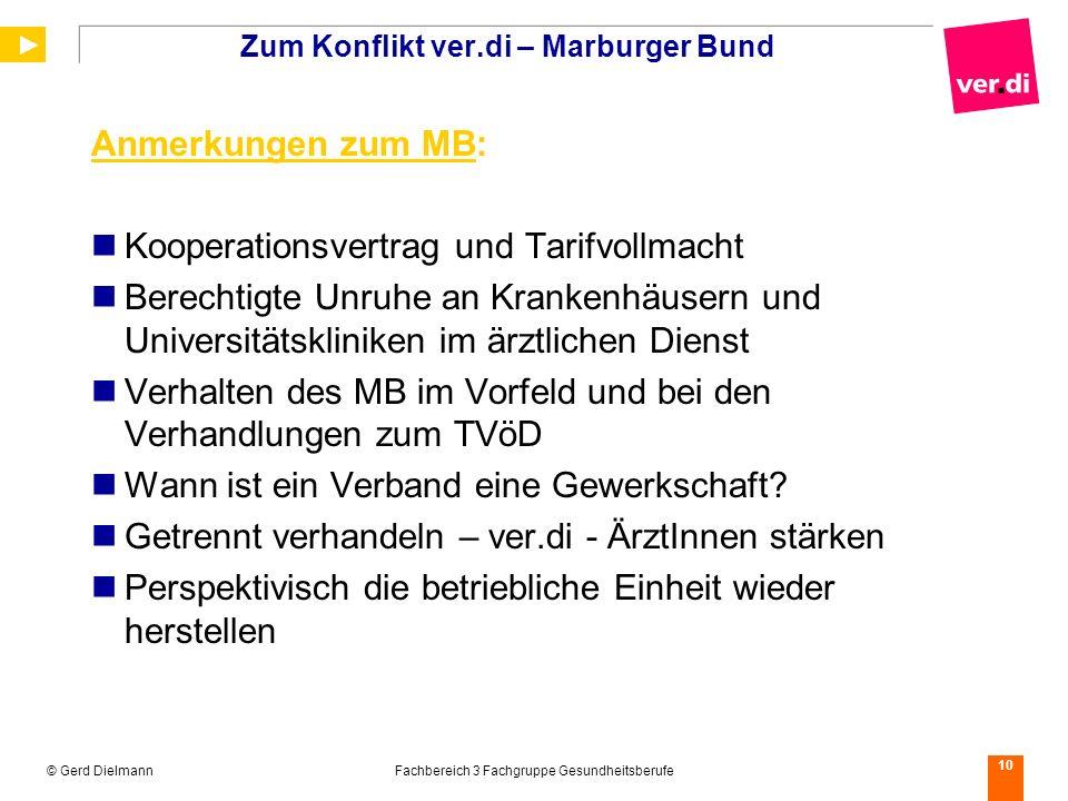 Zum Konflikt ver.di – Marburger Bund