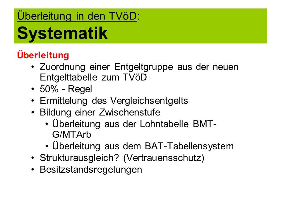 Überleitung in den TVöD: Systematik
