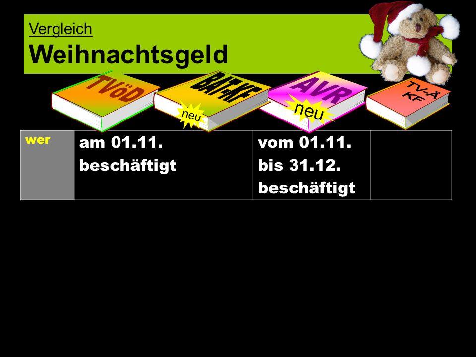 neu Vergleich Weihnachtsgeld am 01.11. beschäftigt vom 01.11.