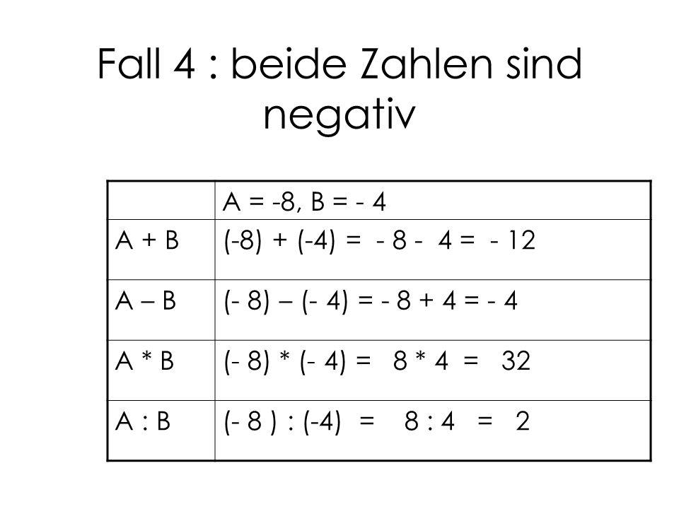 Fall 4 : beide Zahlen sind negativ
