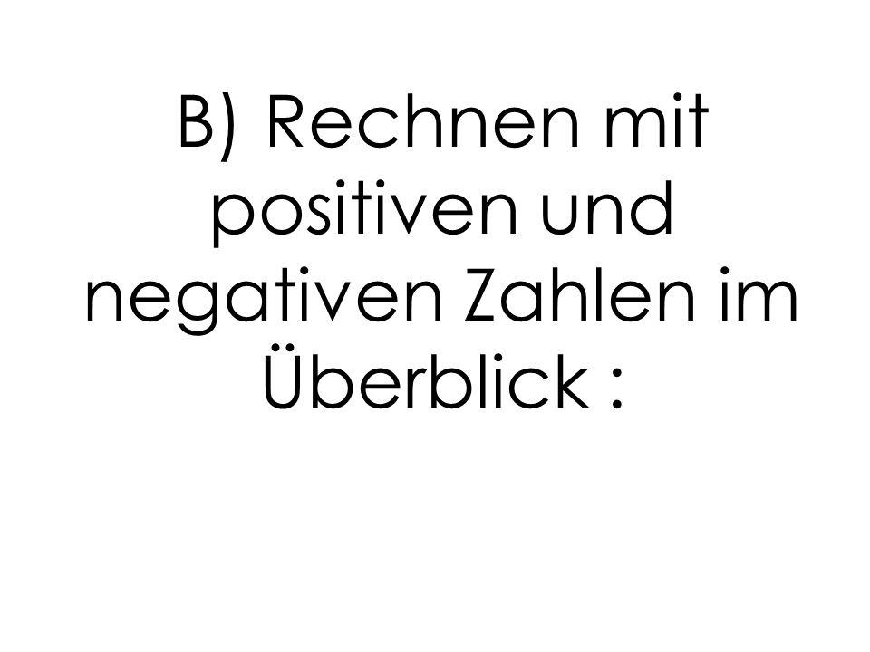 B) Rechnen mit positiven und negativen Zahlen im Überblick :