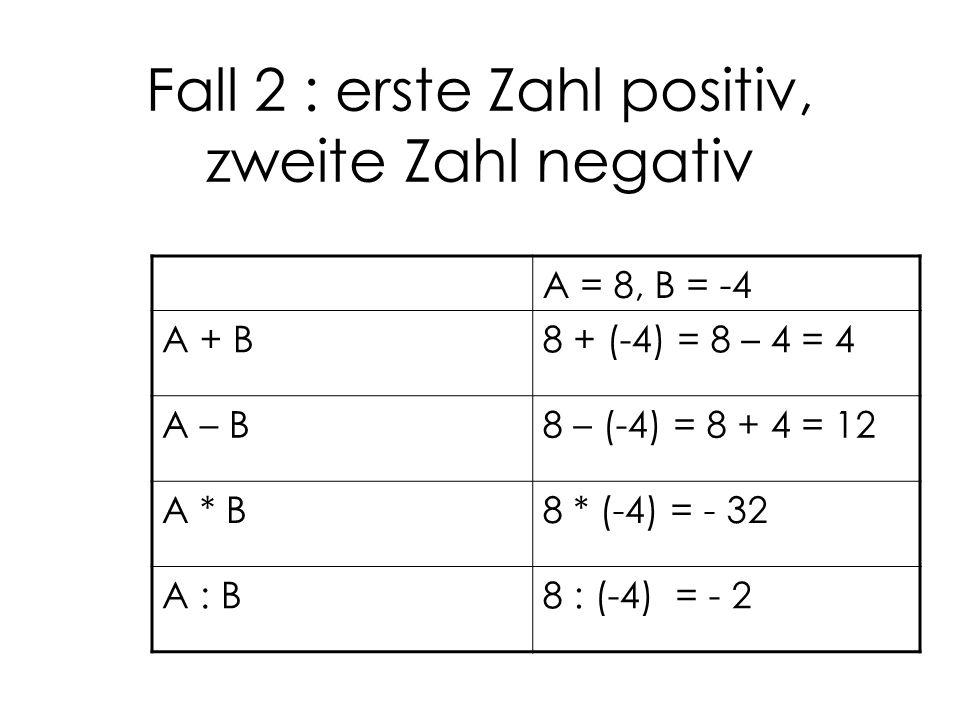 Fall 2 : erste Zahl positiv, zweite Zahl negativ