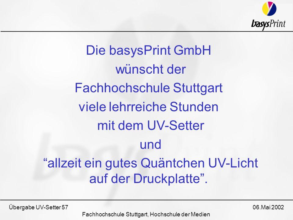 Fachhochschule Stuttgart viele lehrreiche Stunden mit dem UV-Setter
