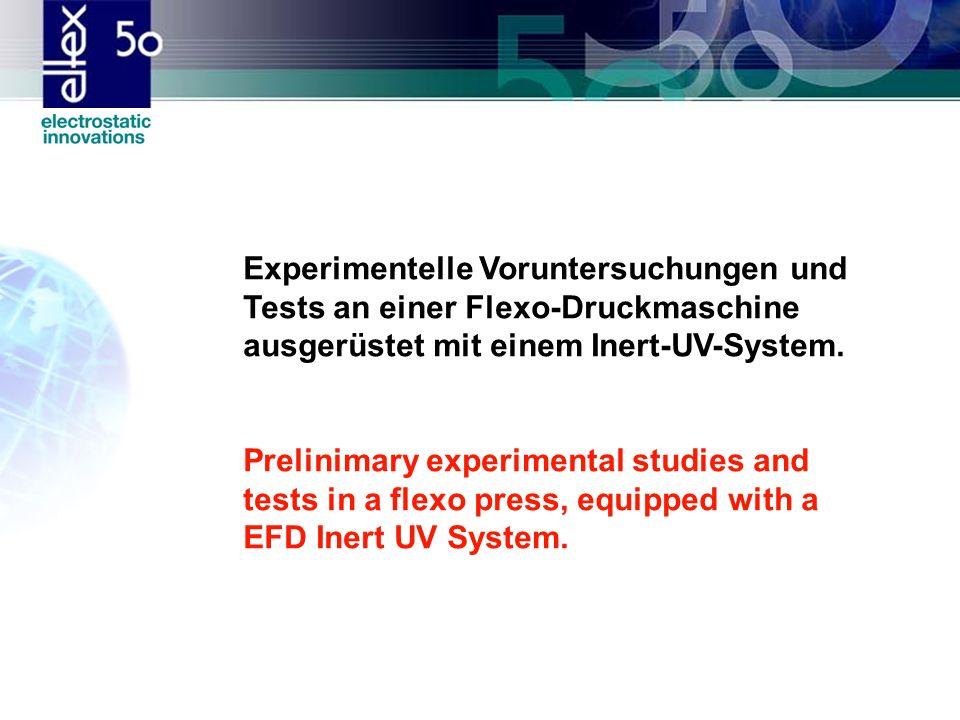 Experimentelle Voruntersuchungen und Tests an einer Flexo-Druckmaschine ausgerüstet mit einem Inert-UV-System.