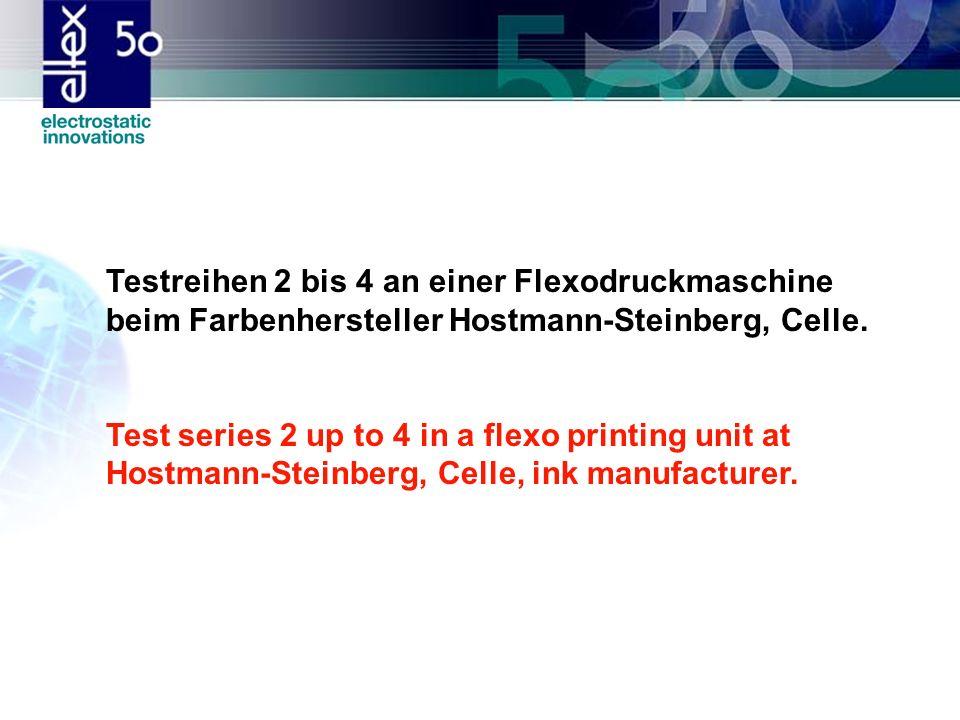 Testreihen 2 bis 4 an einer Flexodruckmaschine beim Farbenhersteller Hostmann-Steinberg, Celle.