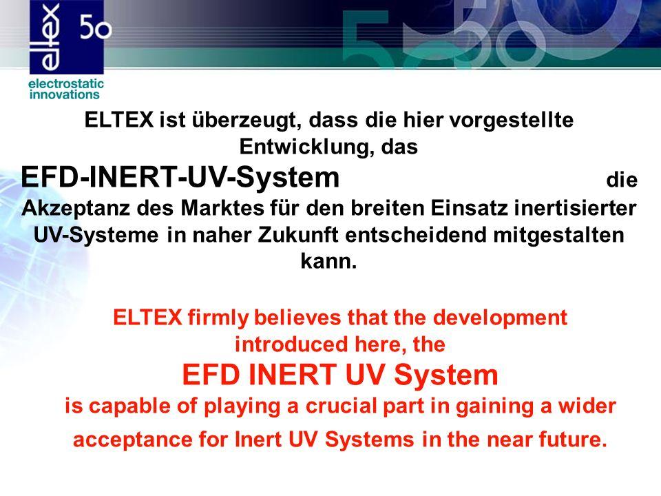 ELTEX ist überzeugt, dass die hier vorgestellte Entwicklung, das EFD-INERT-UV-System die Akzeptanz des Marktes für den breiten Einsatz inertisierter UV-Systeme in naher Zukunft entscheidend mitgestalten kann.
