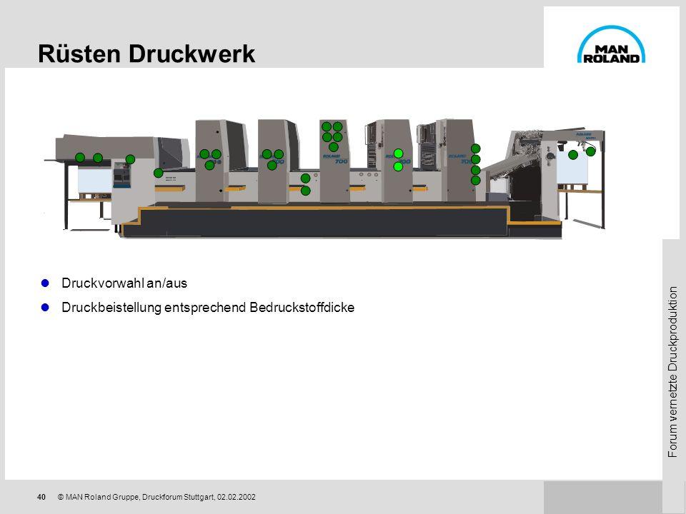 Rüsten Druckwerk Druckvorwahl an/aus