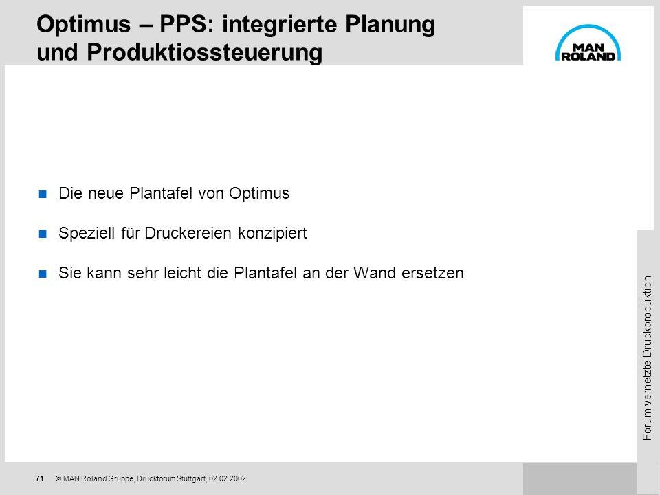 Optimus – PPS: integrierte Planung und Produktiossteuerung