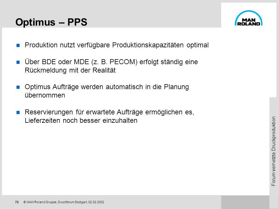 Optimus – PPS Produktion nutzt verfügbare Produktionskapazitäten optimal.