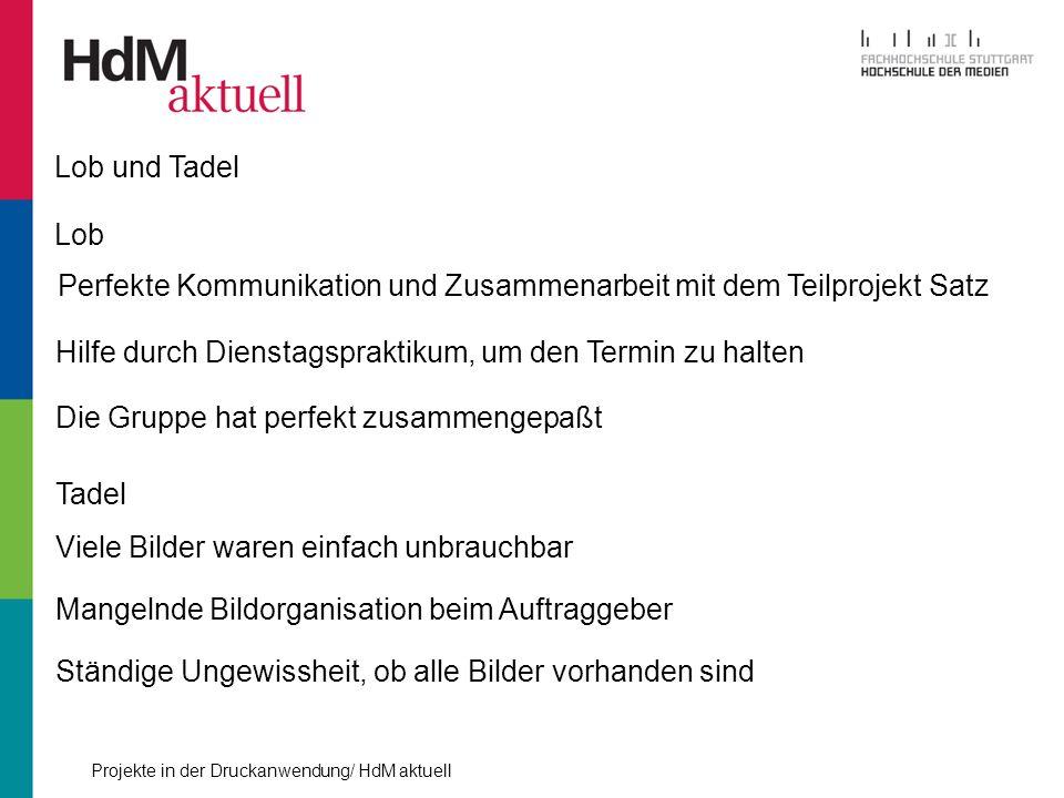 Lob und Tadel Lob. Perfekte Kommunikation und Zusammenarbeit mit dem Teilprojekt Satz. Hilfe durch Dienstagspraktikum, um den Termin zu halten.