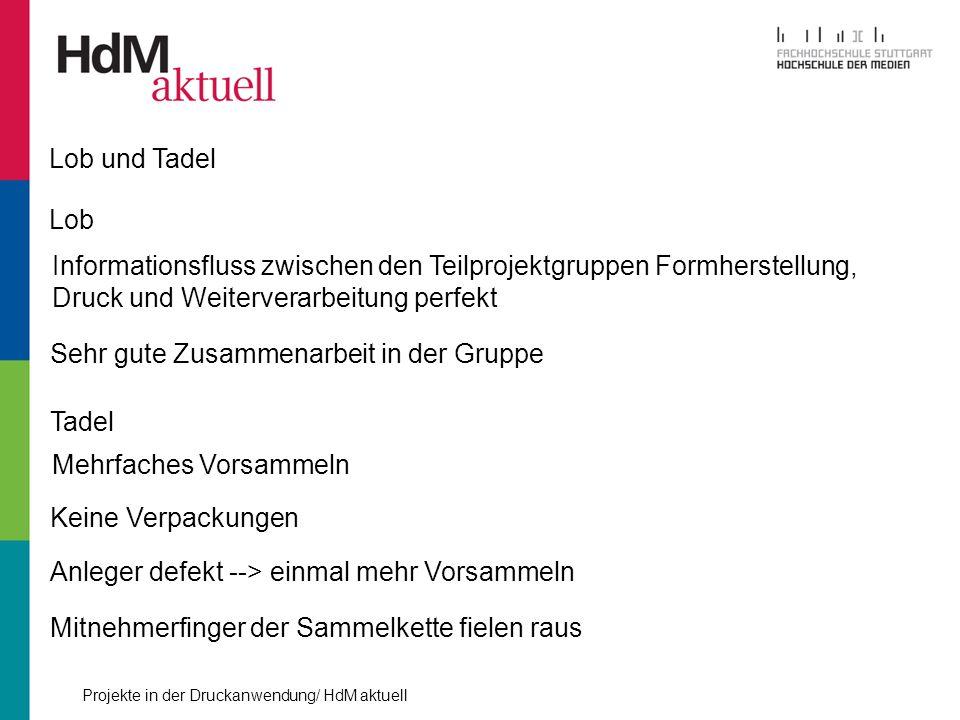 Lob und Tadel Lob. Informationsfluss zwischen den Teilprojektgruppen Formherstellung, Druck und Weiterverarbeitung perfekt.