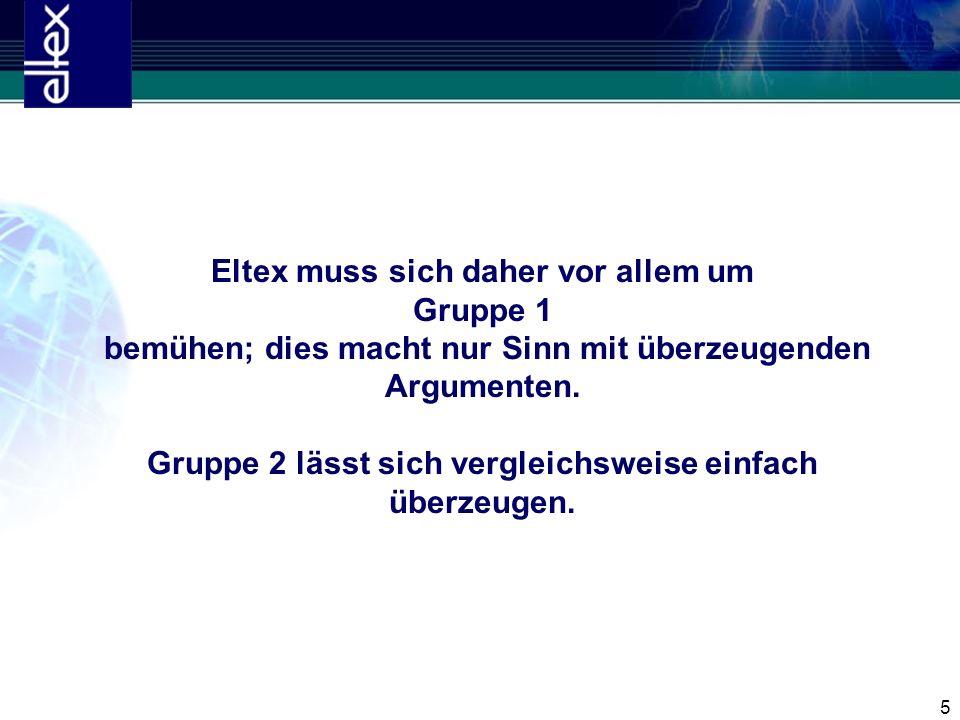 Eltex muss sich daher vor allem um Gruppe 1 bemühen; dies macht nur Sinn mit überzeugenden Argumenten.